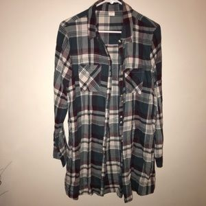 Plaid button down shirt dress